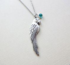 Parrot Necklace Animal Woodland BFF Friend Birthday Gift Friendship Bridesmaid Gift Silver Jewelry Swarovski Channel Crystal Birthstone by BelieveInGoodKarma on Etsy