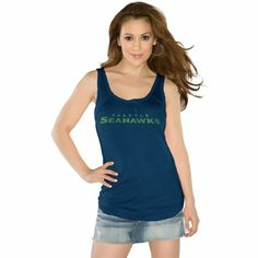 Touch by Alyssa Milano Seattle Seahawks Ladies Curve Ball Tank Top - College Navy