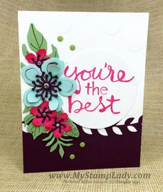 handmade card using Botanical Blooms set ... luv how she split the black and white background panel with the leafy vine die cut ... pretty posy with a bit of dimension ... Stampin' Up!