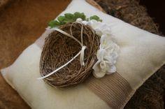 Ring bearer pillow with a bird nest :)
