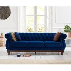 The Henbury Chesterfield Blue Plush 3 Seater Sofa makes a stunning impression in any home. Upholstered in blue plush fabric, the large sofa features a tufted-button design, metal stud detailing and elegant scrolled armrests. Sofa Design, Chesterfield Living Room, Oak Furniture Superstore, Green Velvet Armchair, 3 Seater Sofa Bed, Bedroom Sofa, Large Sofa, Sofa Furniture, Sofa Set