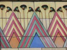 Art Deco Egyptian Revival tile decoration, detail, stylized pyramids and lotus flowers. Former Carlton Cinema, Essex Road, Islington. #egyptomania