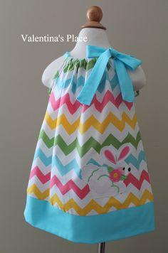 Super Cute Easter Chevron rainbow Bunny pillowcase dress.