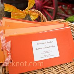 Three shades of orange paper made up the programs. An ivory block featured the names, wedding date, and location and each one was tied together with orange and white gingham ribbon. Ceremony Programs, Wedding Programs, Orange Wedding, Fall Wedding, Wedding Stationery, Wedding Invitations, Orange Paper, Orange And Purple, Yellow