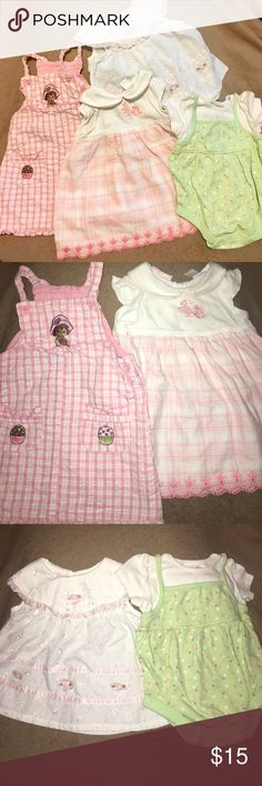 Girls 5 piecebundle size 6-9 months summer clothes Girls summer bundle 6-9 months. Three dresses, one onesie,and one dress like onesie.  Good used condition.  Granimals, precious moments, first impressions, and kidgets brands. Open to offers Carter's Dresses Casual