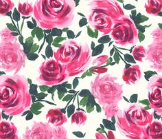 pink_roses fabric by lauram on Spoonflower - custom fabric (big girl room?)
