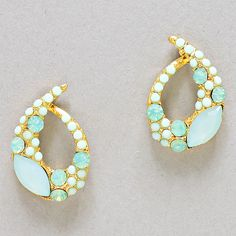 Marquise Madison Earrings in Mint Crystal