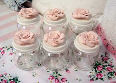 Shabby Chic Decorated Baby Food Jars Romantic Roses