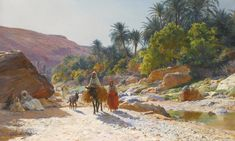Eugène Girardet (French, 1853 - 1907), The Wadi at Bou Saada. Signed and dated Eugène Girardet 1893 lower left, oil on canvas, 68 by 109cm., 26¾ by 43in.