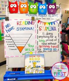 I am excited to start working on our Read to Self stamina tomorrow! This is an amazing visual I made last year. Both charts hung in our… 2nd Grade Ela, Teaching First Grade, First Grade Reading, First Grade Classroom, Second Grade, Future Classroom, Kindergarten Anchor Charts, Reading Anchor Charts, Kindergarten Literacy