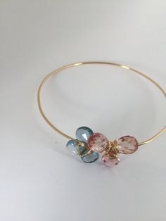 London Blue Topaz Peach sapphire 14KGold Bangle by Lilyb444