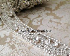 Items similar to Rhinestone applique, rhinestone trim, bridal sash, wedding sash, DIY bridal sash, Crystal applique on Etsy