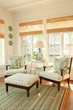 Seabrook Island, SC – Beach Home Tour pale green gingham and bamboo blinds