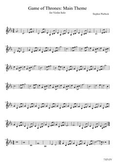 Game of Thrones: Main Theme (for Violin Solo) Free Violin Sheet Music, Clarinet Sheet Music, Violin Music, Music Sheets, Violin Lessons, Music Lessons, Game Of Thrones, Music Score, Piano Teaching