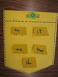 Pronouns Pockets-Cute Idea to review pronouns