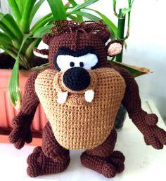 Crochet Taz, amigurumi tasmanian devil by Orangefrau