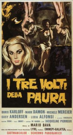 """Italian release poster for Mario Bava's anthology film """"Black Sabbath."""" It's probably best known as the movie that inspired the band name, but it's a great film that still holds up."""