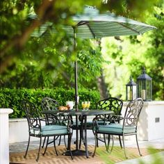 Home Decorators Collection Outdoor Madrid 5-Piece Bronze and Bermuda Cast-Back Dining Set-1466210310 at The Home Depot