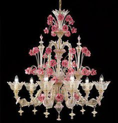 Murano is an island in the Venetian Lagoon. Murano pink glass flowers and crystal chandelier Murano Chandelier, Chandelier Lighting, Crystal Chandeliers, Venetian Glass, Murano Glass, Lampe Applique, Glass Flowers, Decoration, Pretty In Pink
