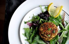 Eggplant and Lentil Fritters - a good use for left-over lentils. Green Lentils, Non Stick Pan, Red Peppers, Fritters, Coriander, Salmon Burgers, Stir Fry, Eggplant, Roast