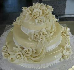 Rose wedding cake.