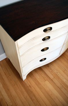 Bow-front dresser painted with Annie Sloan's Old White, and waxed with clear and dark Soft Wax.