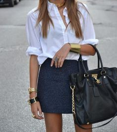 Comfortable white button down dressed up with a shirt & the right bag