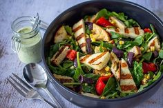 Check out this delicious recipe for Grilled Halloumi and Vegetable Salad from Weber—the world's number one authority in grilling. Large Salad Bowl, Salad Bowls, Weber Q Recipes, Pulses Recipes, Grilled Halloumi, Vegetable Salad Recipes, Spinach Leaves, Cooking On The Grill, Food Processor Recipes