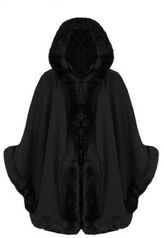 Ladies Faux Fur Trim hooded Capes Ponchos Coat (One Size, Black)