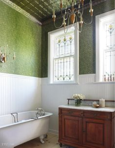love the beadboard, the cabinet, the green, the ceiling... ALL of it!
