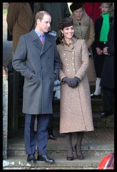 Kate and William at Christmas church services. December 25, 2014