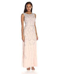 c3eb4b2f5ec Adrianna Papell Women s Sleeveless Fully Gown with Geometric Beading