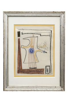Abstract crayon drawing of bird by Michel Debieve (1931-), dated 1966. France, 1966
