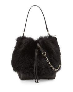 Shearling Fur Bucket Bag, Black by Alice + Olivia at Neiman Marcus. Creative Bag, Fur Bag, Olivia Black, Boho Bags, Chanel, Beautiful Bags, Alice Olivia, Backpack Bags, Bucket Bag