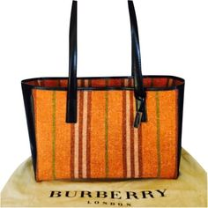 Pre-owned Burberry Oversized Orange; Black Tote Bag ($385) ❤ liked on Polyvore featuring bags, handbags, tote bags, handbags totes, genuine leather tote, oversized tote bags, burberry handbags and leather tote