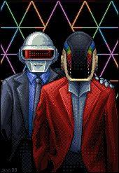 Daft Punk by on deviantART Soundtrack Music, Dj Music, Music Stuff, Vaporwave, Daft Punk Costumes, Free Music Archive, Cool Pixel Art, 8 Bits, Guy