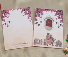 Indian wedding invitation with royal processions, lamps and flowers Indian Wedding Invitation Cards, Wedding Invitations Online, Wedding Stationery, Designer Collection, Print Design, Prints, Flowers, Art, Cards