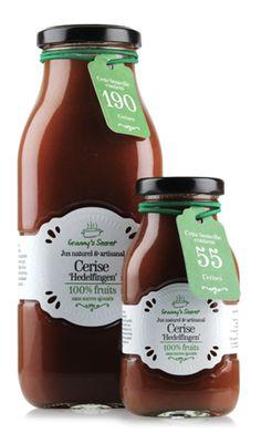 Jus de cerise 'Hedelfingen' Granny's Secret. Ketchup, Bottle, Food, Natural Juice, Greedy People, Flask, Meals