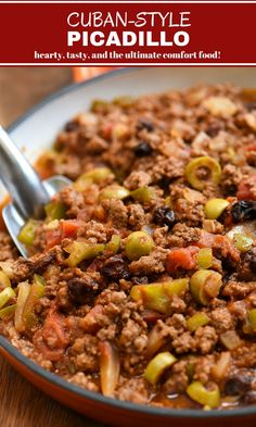Cuban beef picadillo with green olives, raisins, and bell peppers in a hearty tomato sauce. Easy to make and budget-friendly, it's perfect for weeknight dinner or special gatherings. Serve with steamed rice and beans for the ultimate comfort food. Cuban Dishes, Beef Dishes, Beef Picadillo, Turkey Picadillo Recipe, Mexican Picadillo, Cuban Cuisine, Cooking Recipes, Healthy Recipes, Cooking Corn