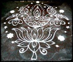 Rangoli Rev's lotus peacock deepam. 9 to 1 straight dots. | m.iKolam.com