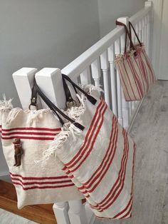 European grain sack bag and market tote My Bags, Purses And Bags, Shopper Bag, Tote Bag, Rice Bags, Sack Bag, Boho Bags, Linen Bag, Fabric Bags