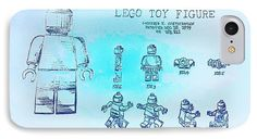 Amazing Graphite Pencil Sketched Art - Vintage LEGO Toy Figure Patent - Blue Abstract - from the art studio of Scott D Van Osdol available at fineartsamerica.com