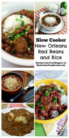 Slow Cooker New Orleans Red Beans and Rice Recipes from Food Bloggers; pick the recipe that sounds best and make this New Orleans treat at home in your slow cooker! [Featured on SlowCookerFromScratch.com]: