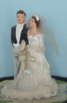 Chalkware Wedding Cake Topper, 1950s