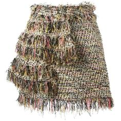 MSGM Fringed Bouclé Skirt (4.740 ARS) ❤ liked on Polyvore featuring skirts, multicolour, brown skirt, colorful skirts, multi colored skirt, msgm and fringe skirt