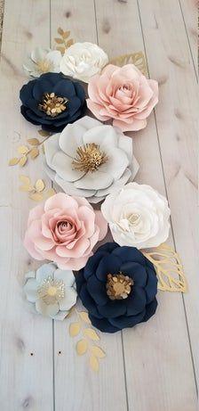 Navy Girl Nursery, Blush Nursery, Gold Nursery, Flower Nursery, Pink And Gray Nursery, Baby Shower Wall Decor, Nursery Wall Decor, Baby Shower Decorations, Paper Wall Decor