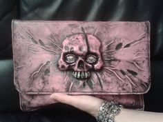 Leather clutch Zombie hot pink Skull Rock Horror by FamilySkiners, $650.00