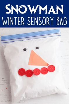This snowman winter sensory bag uses fake snow and shaving cream to make a squishy mess-free sensory toy that babies and toddlers will love. Sensory Wall, Sensory Toys, Sensory Activities, Infant Activities, Sensory Boards, Infant Lesson Plans, Preschool Lesson Plans, Infant Art, Infant Room