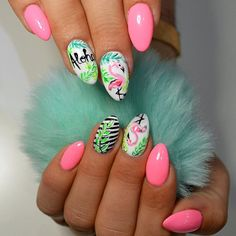 There are a variety of unique nail art designs. Flamingo nail design seems to be the best trend in the current season. Flamingos on white or pink backgrounds are great nail art designs. Of course, Flamingo Nail design is not limited to this, nail art Funky Nail Art, Funky Nails, Cool Nail Art, Great Nails, Cute Nails, Flamingo Nails, Vacation Nails, Latest Nail Art, Nail Art Videos