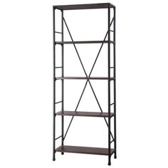 """Threshold™ Mixed Material 5 Shelf Bookcase - Brown, Dimensions: 70.63 """" H x 27.25 """" W x 12.25 """" D Weight: 50.0 Lb. $139.99"""